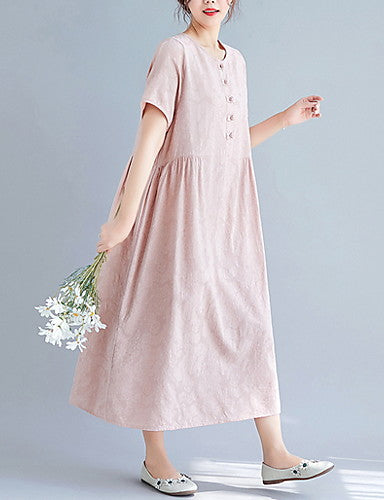 Women's Elegant Shift Dress - Solid Color Blushing Pink M L XL XXL
