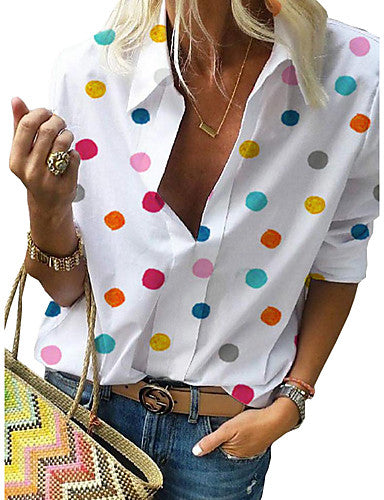 Women's Casual Street Street chic Plus Size Shirt - Polka Dot Print Shirt Collar White