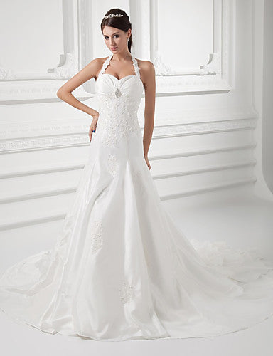A-Line Halter Neck Chapel Train Taffeta Spaghetti Strap Made-To-Measure Wedding Dresses with Beading / Appliques / Cascading Ruffles 2020