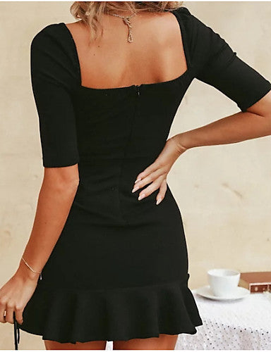 Women's Daily Going out Mini Sheath Dress - Solid Colored Black, Ruffle Square Neck Summer Black M L XL