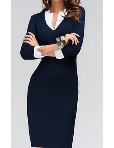 Women's Work Basic Bodycon Dress - Solid Color Basic V Neck Blue S M L XL