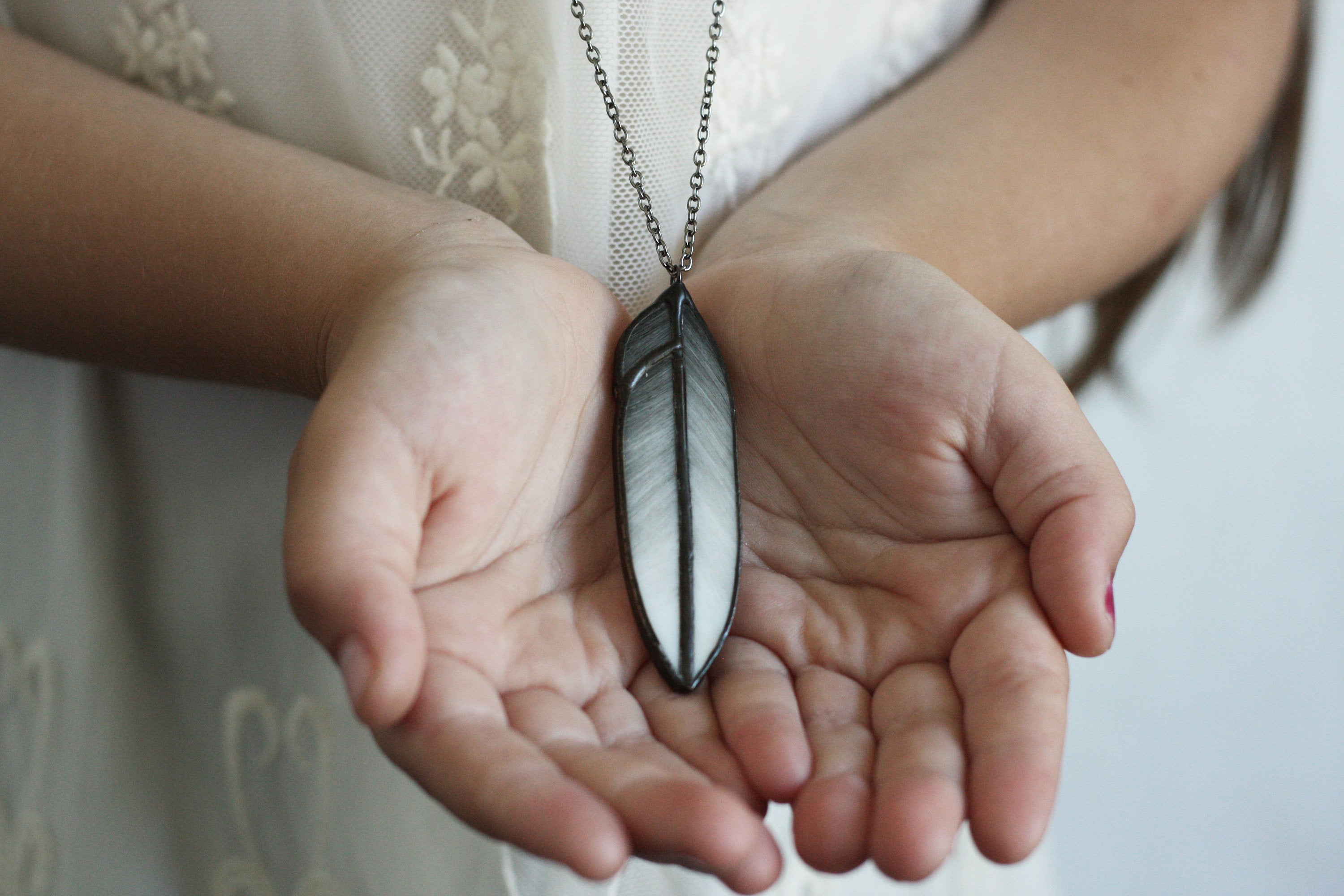Stained glass feather necklace, shaman jewelry, Native American jewelry, boho necklace, boho jewelry, feather pendant