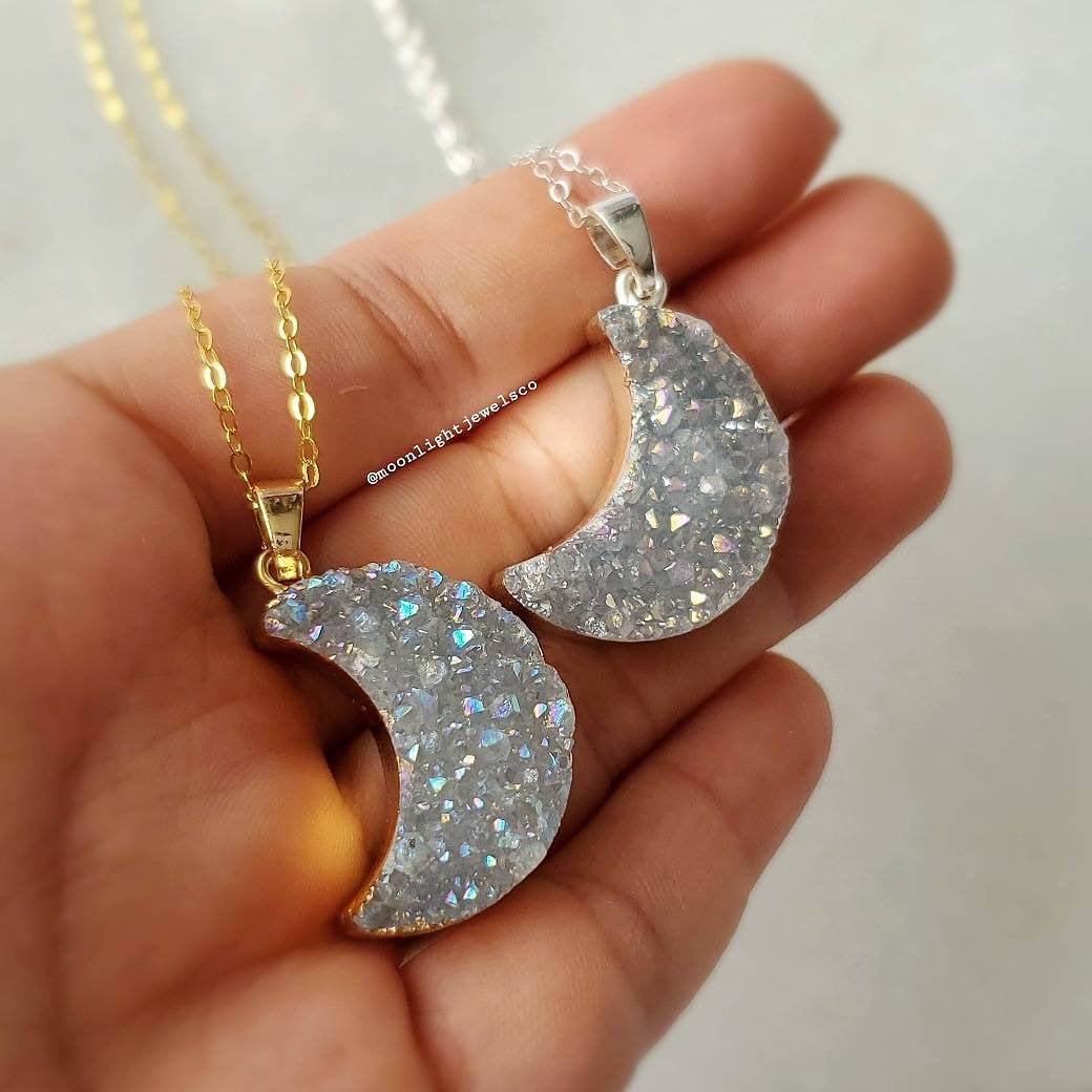 Druzy Moon Necklace; Crescent Moon Druzy; Moon Jewelry             Druzy Moon Necklace; Crescent Moon Druzy; Moon Jewelry