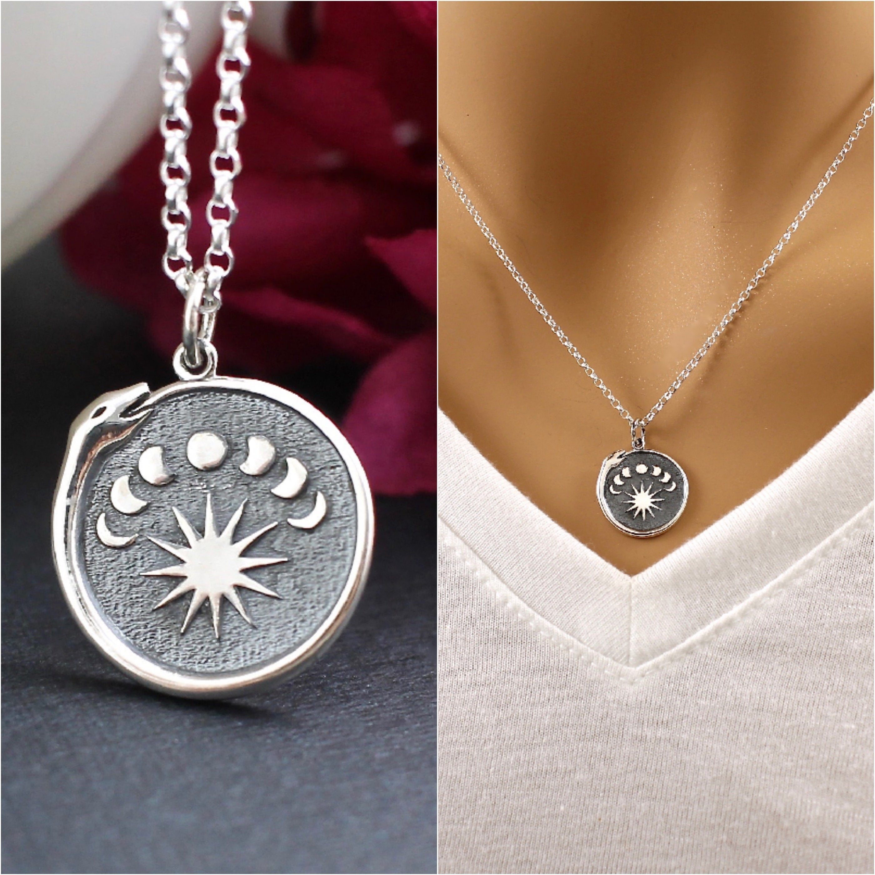 Moon Phase Necklace, Snake Necklace, Talisman Necklace, Snake Eating Tail, Jewelry, Ouroboros Snake