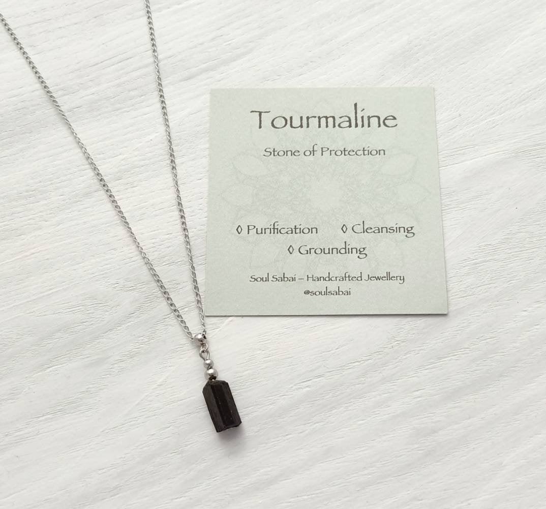 Black Tourmaline Necklace Raw Gemstone Pendant October Birthstone Genuine Natural Tourmaline Stacking Layering             Black Tourmaline Necklace Raw Gemstone Pendant October Birthstone Genuine Natural Tourmaline Stacking Layering