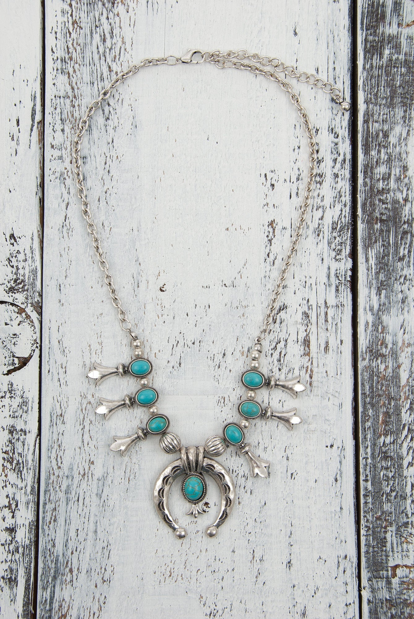 Handmade Navajo Inspired Southwestern Small Turquoise Color Beads Squash Blossom Necklace Western Jewelry             Handmade Navajo Inspired Southwestern Small Turquoise Color Beads Squash Blossom Necklace Western Jewelry