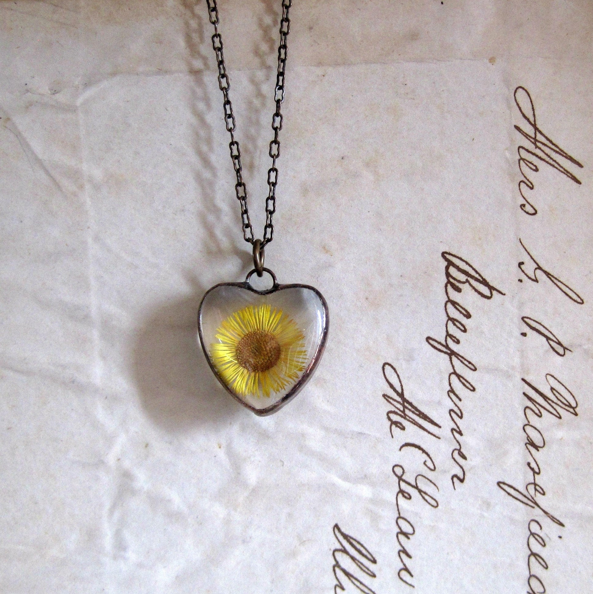 Pressed Flower Necklace, Sunflower Necklace, Heart Glass Jewelry            Pressed Flower Necklace, Fleabane, Heart Glass Jewelry