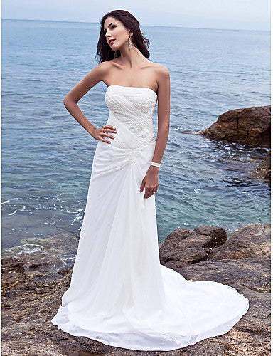 Sheath / Column Strapless Chapel Train Chiffon Strapless Made-To-Measure Wedding Dresses with Side-Draped 2020