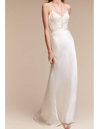 Sheath / Column V Neck Sweep / Brush Train Satin Cap Sleeve Formal Plus Size Made-To-Measure Wedding Dresses with Draping 2020