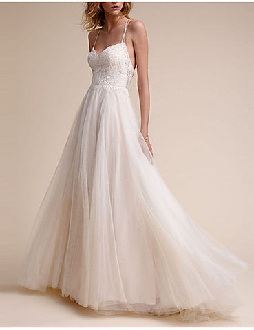 A-Line V Neck Floor Length Tulle Spaghetti Strap Made-To-Measure Wedding Dresses with Lace Insert 2020