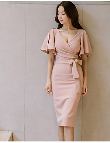 Daily Butterfly Sleeves Slim Bodycon Dress Solid Colored Ruched High Waist V Neck Summer Cotton Pink M L XL / Sexy