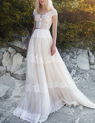 A-Line V Neck Sweep / Brush Train Tulle Cap Sleeve Made-To-Measure Wedding Dresses with Sashes / Ribbons 2020
