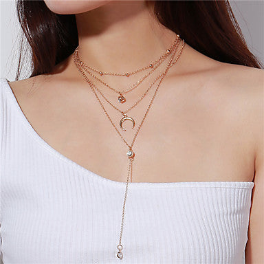 Women's Crystal Statement Necklace Y Necklace Layered Necklace Layered Lariat Moon Heart Crescent Moon double horn Ladies Multi Layer Crystal Alloy Gold Silver Necklace Jewelry For Party Daily
