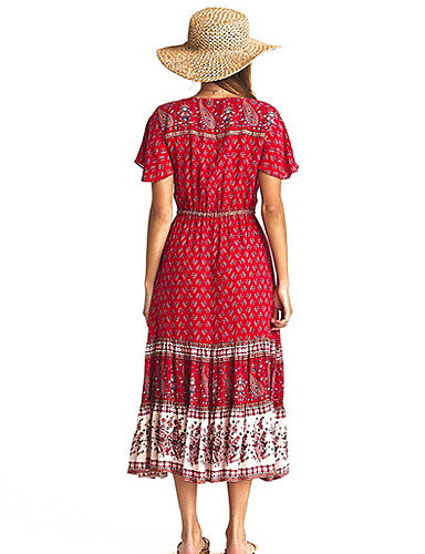 Women's Elegant Swing Dress - Geometric Blushing Pink Red Green S M L XL