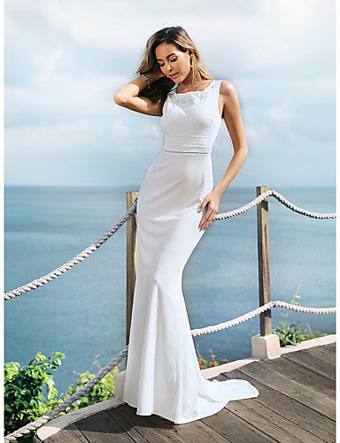 Mermaid / Trumpet Jewel Neck Sweep / Brush Train Lace Over Satin / Chiffon Over Satin Regular Straps Sexy Made-To-Measure Wedding Dresses with Embroidery 2020