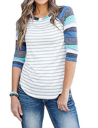 Women's Daily T-shirt - Striped Blue / Fine Stripe