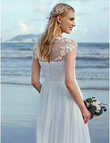 A-Line Jewel Neck Ankle Length Chiffon / Lace Over Tulle Cap Sleeve Beautiful Back / Illusion Detail Made-To-Measure Wedding Dresses with Appliques / Criss Cross / Ruched 2020