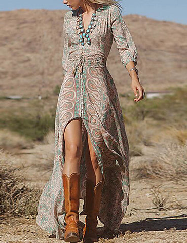 Women's Boho Plus Size Holiday Maxi Swing Dress - Tribal Print V Neck Spring Cotton Khaki S M L XL