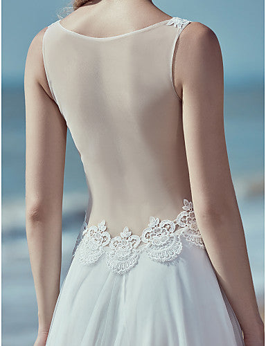 A-Line V Neck Sweep / Brush Train Lace / Tulle Regular Straps Beautiful Back Made-To-Measure Wedding Dresses with Lace 2020