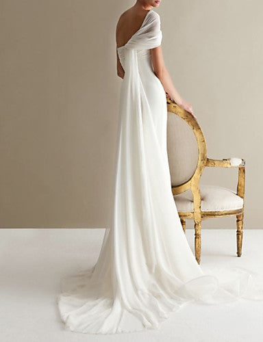 A-Line One Shoulder Sweep / Brush Train Lace / Tulle Strapless Formal Plus Size Made-To-Measure Wedding Dresses with Draping / Lace Insert 2020