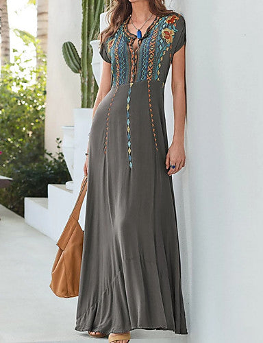 Women's Elegant Maxi Swing Dress - Floral Gray M L XL XXL