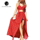 2016 Summer Beach Style Sexy Boho Maxi Long Women Dress Red Print V Neck Bows Side Split Hollow Out Off Shoulder Vestidos - serenityboutique