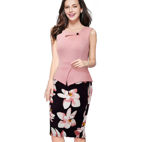 Nice-forever Autumn Print Floral Patchwork Button Casual Dress Business Three Quarter Zip Back Bodycon Summer Office Dress b288 - serenityboutique