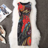 Soperwillton 2017 New Brand Dress Summer Women High Quality Printing bodycon bandage Business work office Women's Dresses #A764 - serenityboutique