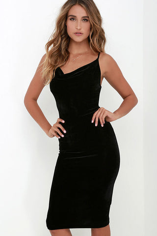 High Quality Women 2016 New Sexy Fashion Autumn Sleeveless Spaghetti Strap Evening Party Mid Velvet Dress Robe Velours Strap 262 - serenityboutique