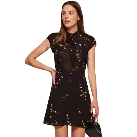 HDY Haoduoyi 2017 Fashion Summer Women Dress Vintage A-line Print Short Sleeve Mini Dress Empire O-neck Solid Black Vestidos - serenityboutique