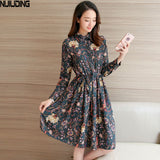 NIJIUDING Floral A-Line Dress Newest 2017 Fashion Turn-down Collar Long Sleeve Women Vintage Spring Chiffon Dresses Dropshipping - serenityboutique