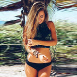2017 Sexy High Neck Bikini Swimwear Women Swimsuit Brazilian Bikini Set Print Leaf Beach Wear Bathing Suits Plus Size Swimwear - serenityboutique