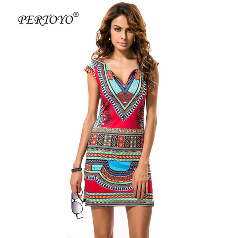 PERTOYO Women Dashiki Dress 2017 Ladies Short V-Neck Sexy African Dresses Traditional Print Mini Women Summer Boho Beach Dress - serenityboutique