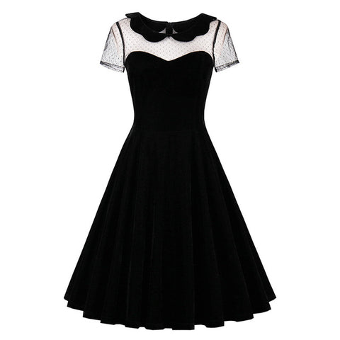 Sisjuly retro women dress black vintage 1950s summer elegant dress sexy hollow out peter pan collar gothic 2017 vintage dress - serenityboutique