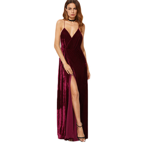 COLROVIE Burgundy Velvet Maxi Backless Dress Womens Autumn Party Dresses Deep V Neck Long Elegant Dress New Strappy Wrap Dress - serenityboutique