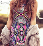 Gamiss 2017 Summer Style Women New Fashion Vintage Geometric Print Mini Boho Dress Sexy Casual Party Beach Dresses Plus Size - serenityboutique