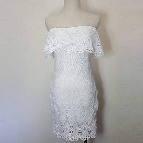 DeRuiLaDy Sexy Women Mini Dress Off Shoulder Sexy Lace Embroidery Bodycon  Dresses Summer Beach Party White Casual Dress vestido - serenityboutique