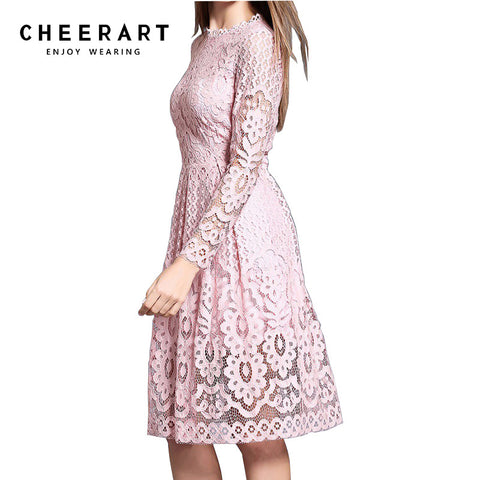 cheerart High Quality Women Bohemian White Lace Autumn Crochet Casual Long Sleeve Plus Size Pink/White/Black/Red Dress Clothing - serenityboutique