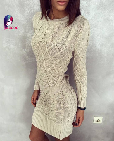 Rugod Hot Winter Dress 2017 Women Sweater Warm Dresses Women Clothes Ladies Long Sleeve Bodycon Dress Casual Knitted Dress - serenityboutique