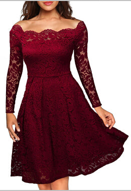 Robe Femme Embroidery Vintage Lace Dress Women Off Shoulder Dresses Long Sleeve Casual Evening Party A Line Plus size Dress - serenityboutique