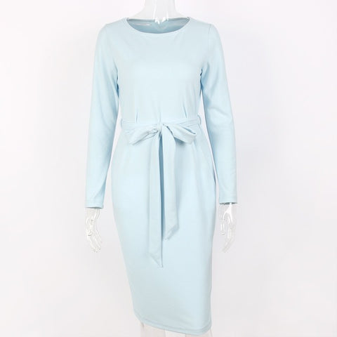Sytiz Light Blue Belted Women Dress Solid Mid-Calf Casual O-neck Long Sleeve 2017 New Arrival Autumn Winter - serenityboutique