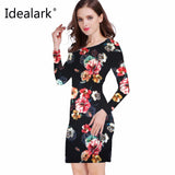 Idealark 2017 dress Women Clothing Spring Fashion Flower Print Dress Ladies Long Sleeve Casual Autumn Dresses Vestidos WC0592 - serenityboutique