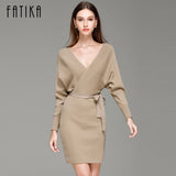 FATIKA 2017 Fashion Women Autumn Winter Mini Dresses Solid V-Neck Long Batwing Sleeve Elegant Knitted Sweater Dress With Belt - serenityboutique