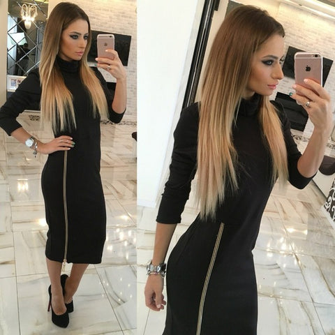 High Neck New Autumn Women Casual Dress Side Zipper Up Split Sexy Party Dresses Long Sleeve Straight Vestidos - serenityboutique
