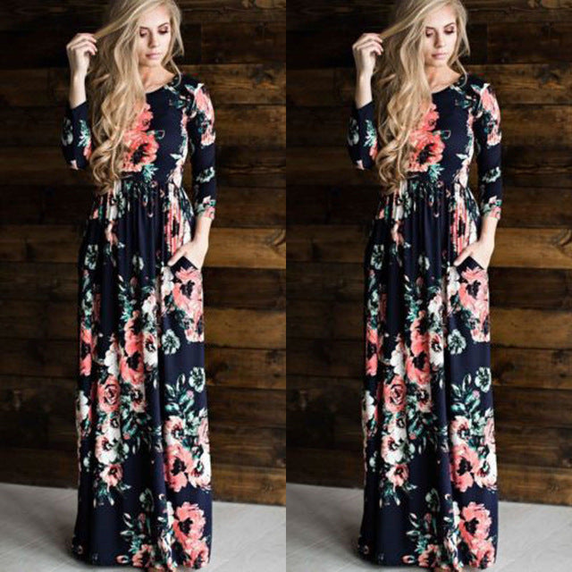 New Casual Women Summer Floral Long Dress High Waist Female Long Sleeve Party Dress Women BOHO Long Maxi Dress - serenityboutique