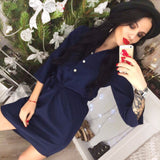 New 2018 Casual Spring Women Navy blue Pink shirt dress Vestidos Autumn 3/4 Sleeve Party Office Workwear Dresses Plus Size - serenityboutique