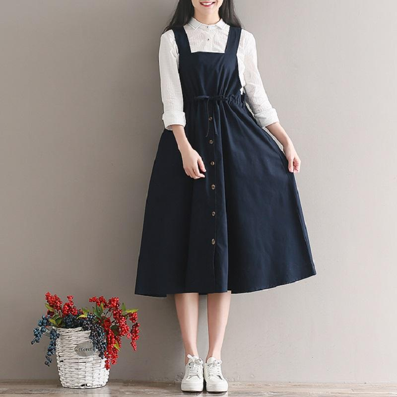2018 Spring Summer Women Sleeveless Vintage Dress Navy Blue Cotton Linen Casual Loose Vestidos Spaghetti Strap Female Dress 2XL - serenityboutique