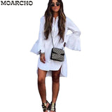MOARCHO 2017 Women White Flare Sleeve Shirt Dress Summer Fashion O Neck Straight Elegant Woman Bloues Casual Clothing Tops - serenityboutique