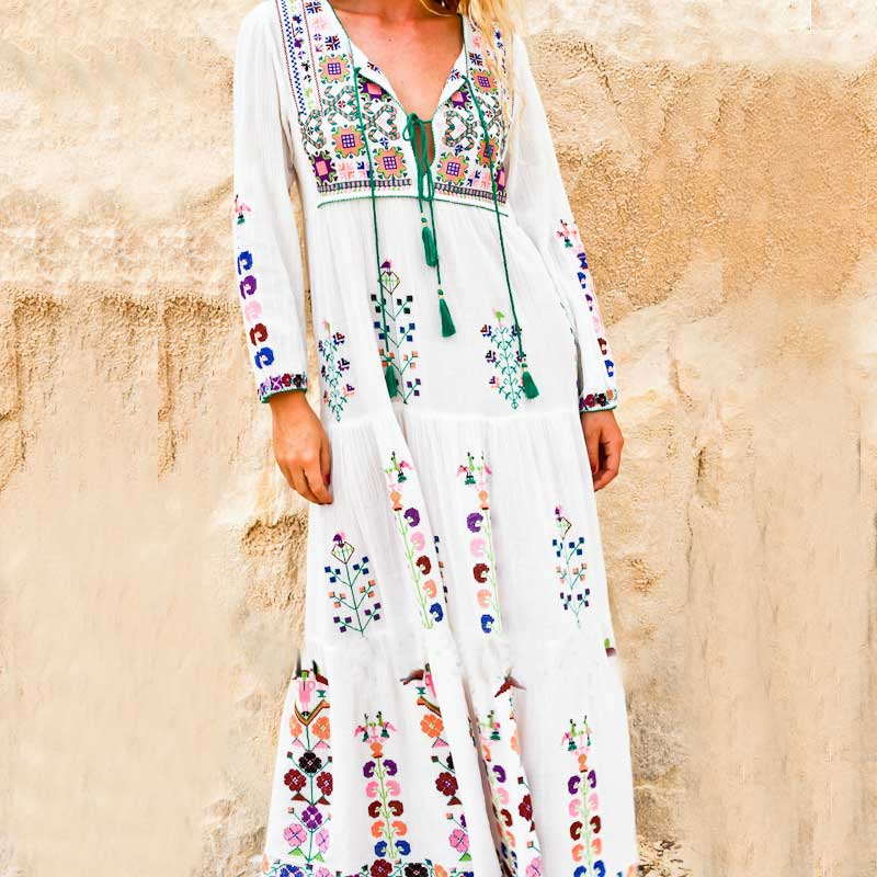 maxi dress floral embroidered long Sleeve white dress Vintage women winter tassel boho chic style dresses brand vestidos 2018 1950947-white-s