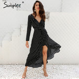 Simplee Autumn long sleeve polka dot ruffle wrap dress Women sexy v neck split maxi dress vestidos Summer beach black long dress - serenityboutique
